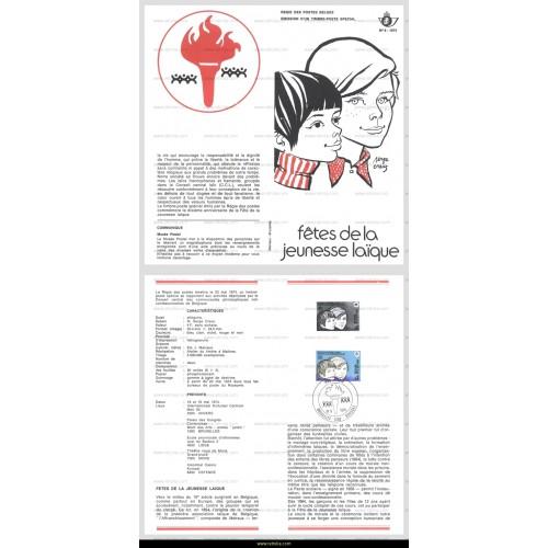 First Day Sheet 1974 F�tes de la jeunesse la�que