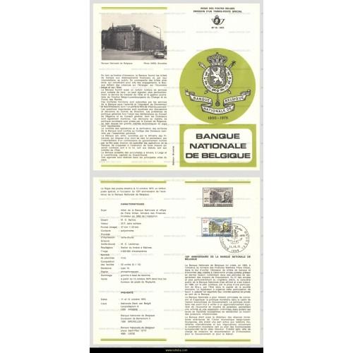 First Day Sheet 1975 Banque Nationale de Belgique