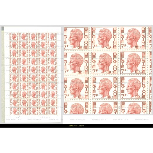 "Full Sheet 1971 King Baudouin with ""B"" in oval 7 Fr"