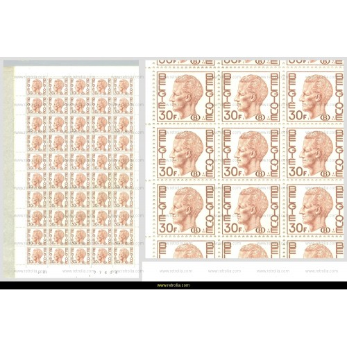 """Full Sheet 1978 King Baudouin with """"B"""" in oval 30 Fr"""