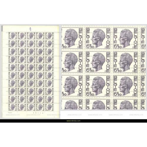 Full Sheet 1974 King Baudouin 6.50 Fr
