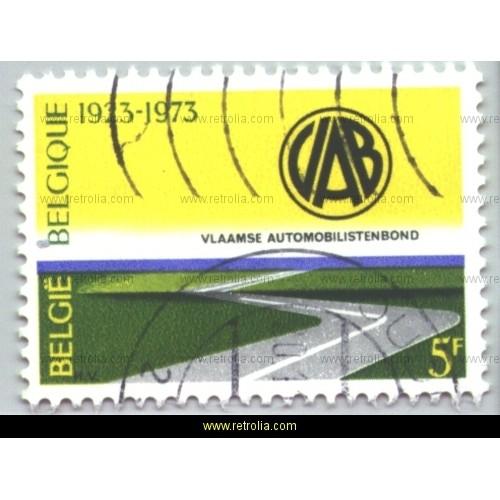 Stamp 1973 50 year anniversary Vlaamse automobilistenbond